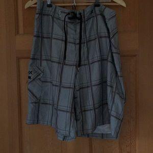 Men's Grey Plaid Hurley Bathing Suit